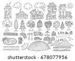 vector doodle set. elements of... | Shutterstock .eps vector #678077956