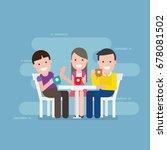 friends in coffee shop  | Shutterstock .eps vector #678081502
