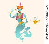 happy genie with magic wand.... | Shutterstock .eps vector #678096622