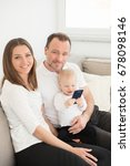 happy family of three  is... | Shutterstock . vector #678098146