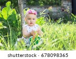 little girl is sitting in the... | Shutterstock . vector #678098365