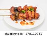 close up chicken bar b q or bbq | Shutterstock . vector #678110752
