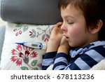 sick little child  boy  with... | Shutterstock . vector #678113236