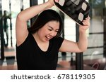 woman with scale unhappy with...   Shutterstock . vector #678119305
