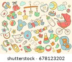 newborn infant themed cute... | Shutterstock . vector #678123202