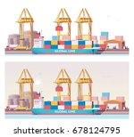 vector low poly 2d cargo port... | Shutterstock .eps vector #678124795