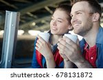 happy couple with drinks... | Shutterstock . vector #678131872