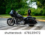Small photo of Warsaw, POLAND, JULY 12, 2017: Black Harley Davidson Road Glide. Street presentation of custom motorbike.