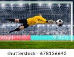 female goalie is jumping for... | Shutterstock . vector #678136642