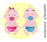 two small children holding hands | Shutterstock .eps vector #678146095