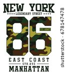 new york  camouflage typography ... | Shutterstock .eps vector #678147478
