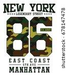 new york  camouflage typography ... | Shutterstock .eps vector #678147478