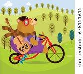 bear cycling cartoon vector... | Shutterstock .eps vector #678151615