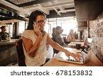 happy businesswoman at office... | Shutterstock . vector #678153832