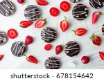 strawberry biscuits and fruit...   Shutterstock . vector #678154642