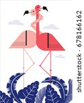 flamingos in love  tropical  ... | Shutterstock .eps vector #678166162