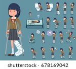 set of various poses of flat... | Shutterstock .eps vector #678169042