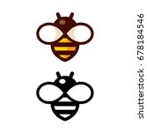 cartoon bee logo design in...   Shutterstock . vector #678184546