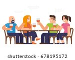 people are dinner at a ... | Shutterstock .eps vector #678195172