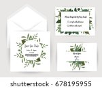 wedding invitation flower card... | Shutterstock .eps vector #678195955