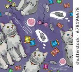 cheerful kittens seamless... | Shutterstock .eps vector #678196678