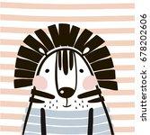 cute cartoon tiger in... | Shutterstock .eps vector #678202606