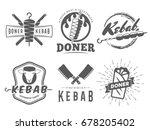 doner kebab logos. vector kebab ... | Shutterstock .eps vector #678205402