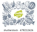 healthy food collection. good... | Shutterstock .eps vector #678212626