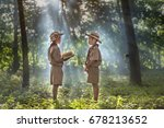 two scouts are reading a book... | Shutterstock . vector #678213652