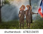 two scouts are reading a book... | Shutterstock . vector #678213655