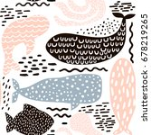 Stock vector seamless pattern with sea animal fur seal whale octopus fish childish texture for fabric 678219265