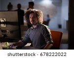 young man working on computer... | Shutterstock . vector #678222022