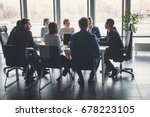 businesspeople discussing... | Shutterstock . vector #678223105