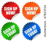 sign up now stickers | Shutterstock . vector #67822516
