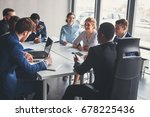 businesspeople discussing... | Shutterstock . vector #678225436