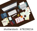 office. realistic workplace... | Shutterstock .eps vector #678238216