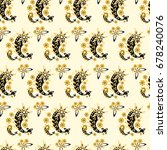 yellow  paisley seamless... | Shutterstock .eps vector #678240076