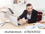 young overworked business owner.... | Shutterstock . vector #678243532