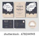 set of luxury navy blue wedding ... | Shutterstock .eps vector #678244945
