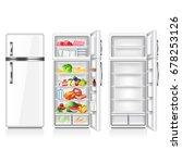 full and empty fridge isolated... | Shutterstock .eps vector #678253126