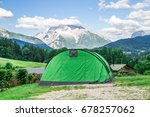 green tent with mountain... | Shutterstock . vector #678257062