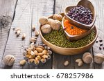 sources of vegetable protein.... | Shutterstock . vector #678257986