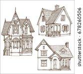 victorian cute little houses...   Shutterstock .eps vector #678260506