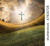Cross radiates High Resolution light in sky over beautiful landscape - stock photo