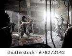 three terrorists holding... | Shutterstock . vector #678273142