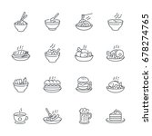 food dishes icon set isolated... | Shutterstock .eps vector #678274765
