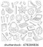 vector doodle icons collection. ... | Shutterstock .eps vector #678284836