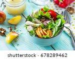 summer lettuce with salad... | Shutterstock . vector #678289462
