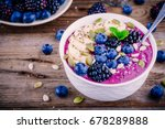 purple smoothie bowl with fresh ... | Shutterstock . vector #678289888