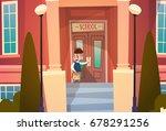 boy opening school door pupil... | Shutterstock .eps vector #678291256